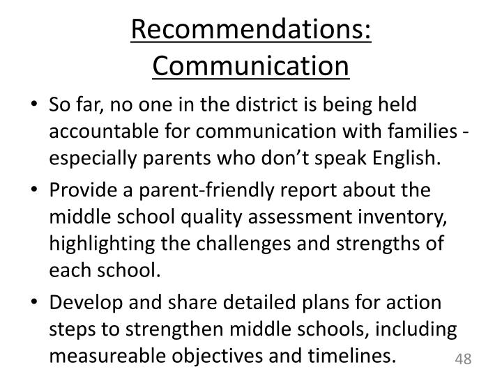 Recommendations:  Communication