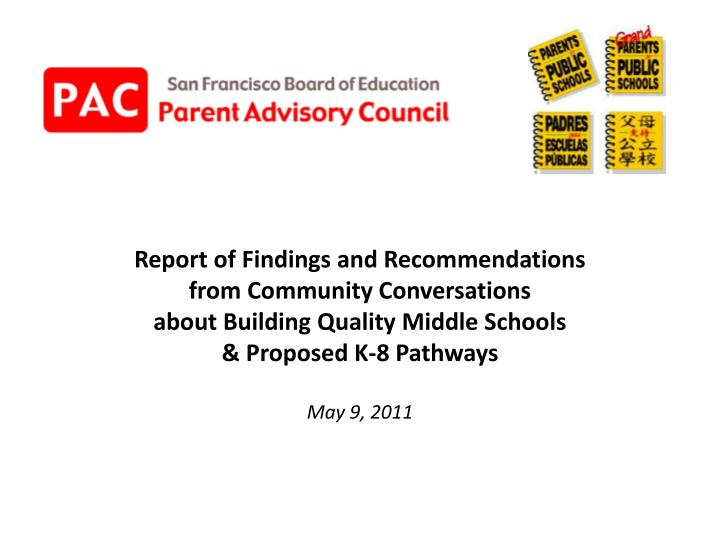 Report of Findings and Recommendations
