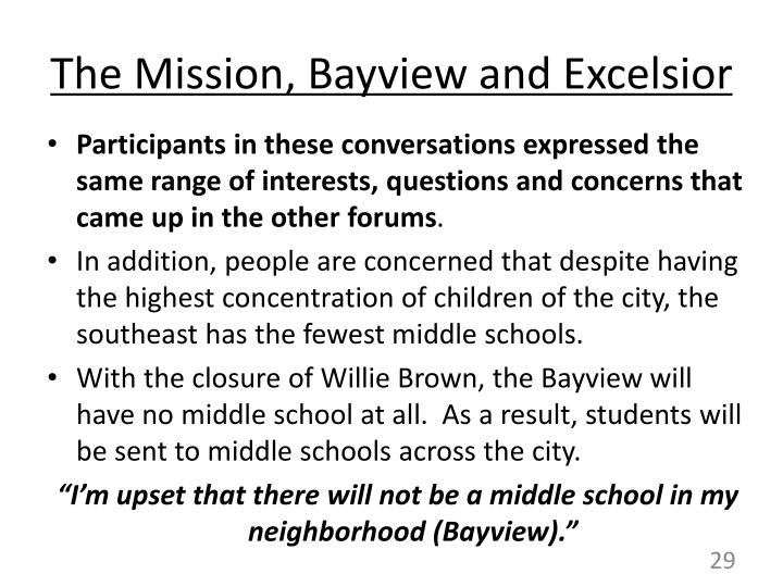 The Mission, Bayview and Excelsior