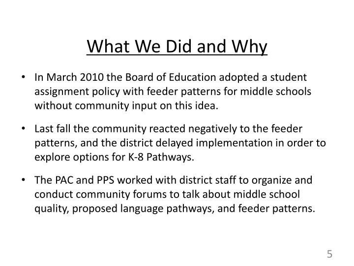 What We Did and Why