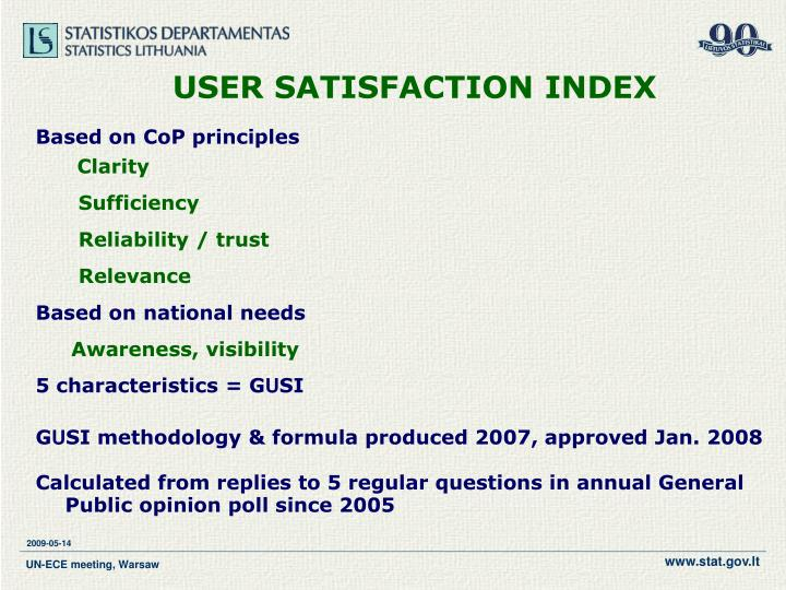 USER SATISFACTION INDEX