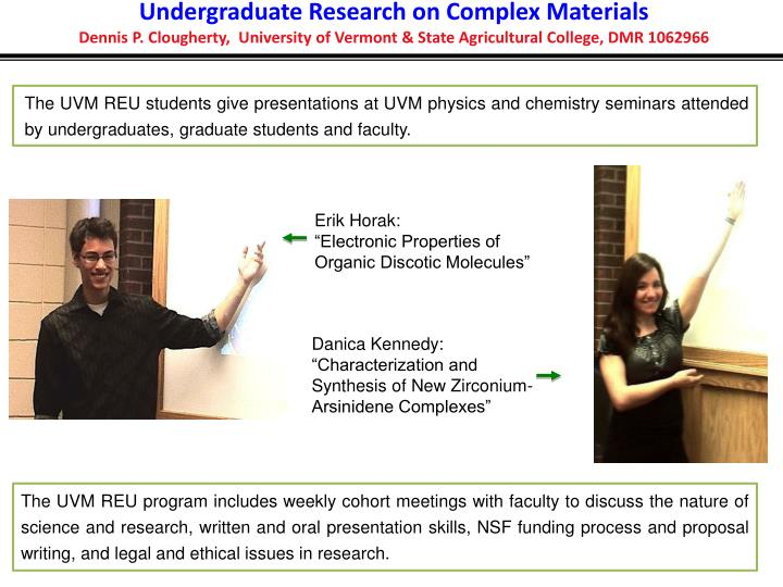 Undergraduate Research on Complex Materials