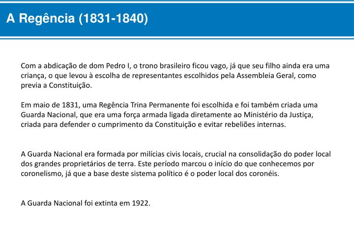 A Regência (1831-1840)