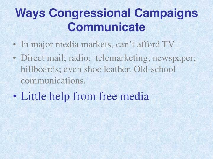 Ways Congressional Campaigns Communicate