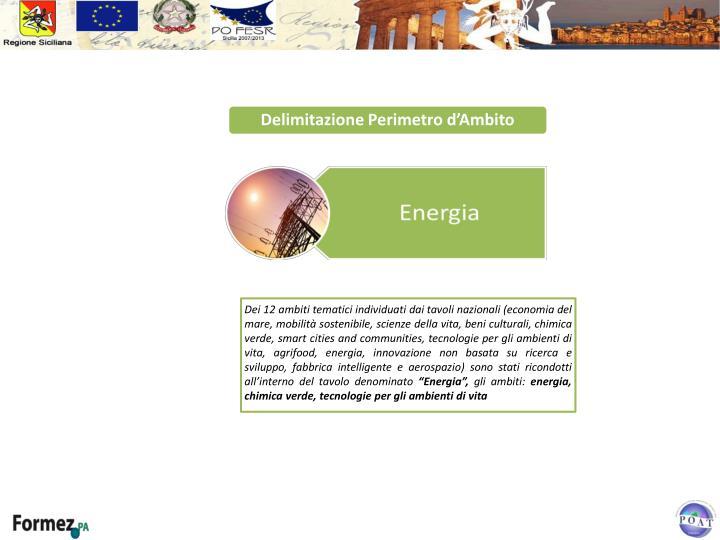 Dei 12 ambiti tematici individuati dai tavoli nazionali (economia del mare, mobilità sostenibile, scienze della vita, beni culturali, chimica verde,