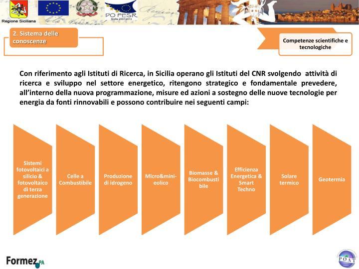 Con riferimento agli Istituti di Ricerca, in Sicilia operano gli Istituti del CNR svolgendo  attività di ricerca e sviluppo nel settore energetico, ritengono strategico e fondamentale prevedere, all'interno della nuova programmazione, misure ed azioni a sostegno delle nuove tecnologie per energia da fonti rinnovabili e possono
