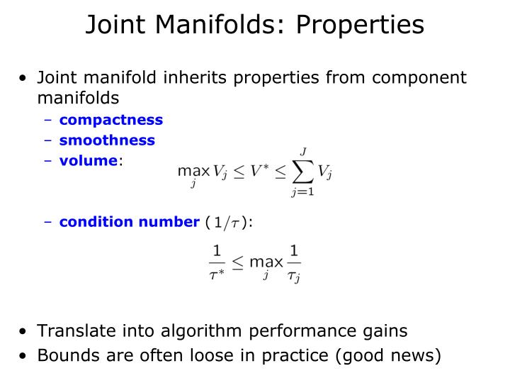 Joint Manifolds: Properties