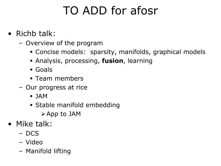 TO ADD for afosr