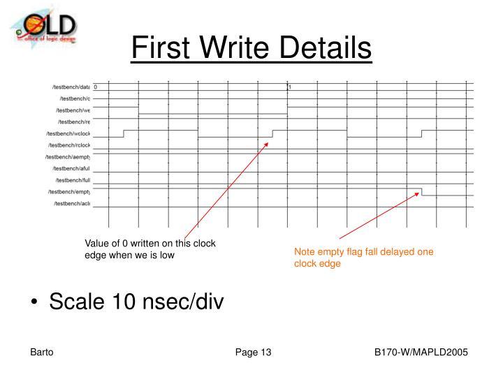 First Write Details