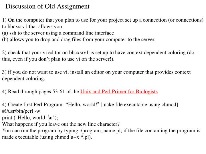 Discussion of old assignment