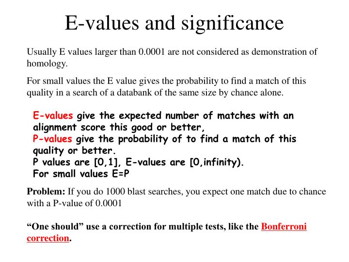E-values and significance