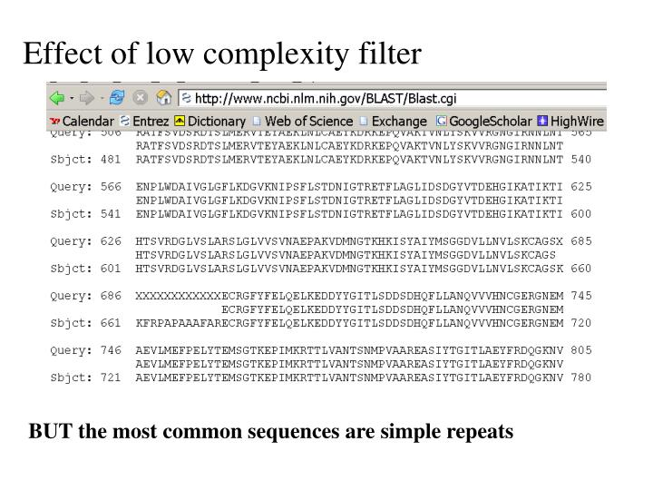 Effect of low complexity filter