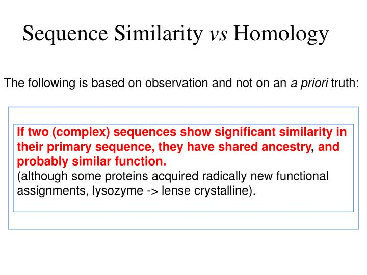 If two (complex) sequences show significant similarity in their primary sequence, they have shared ancestry
