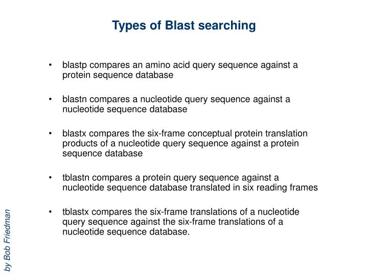 Types of Blast searching