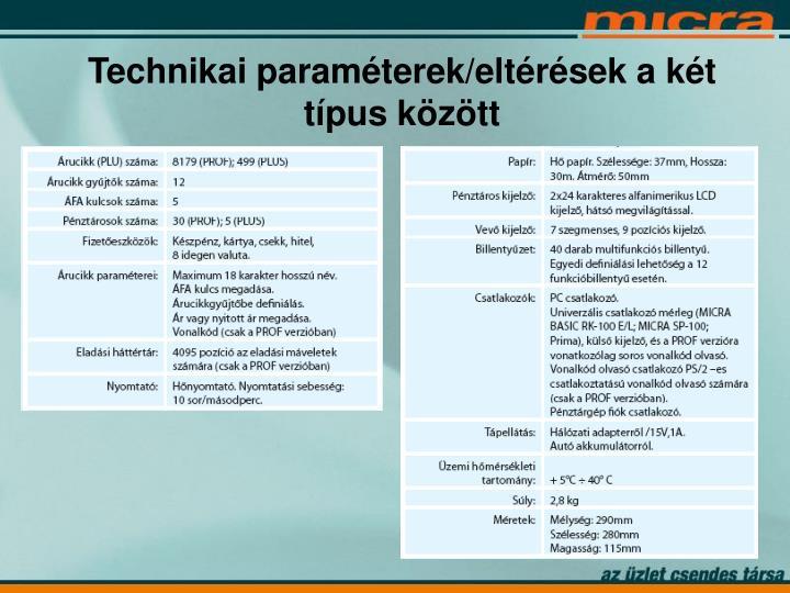Technikai paraméterek/eltérések a két típus között