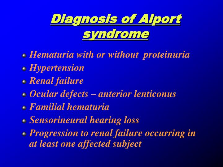 Diagnosis of Alport syndrome