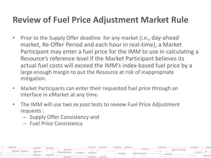 Review of Fuel Price Adjustment Market Rule