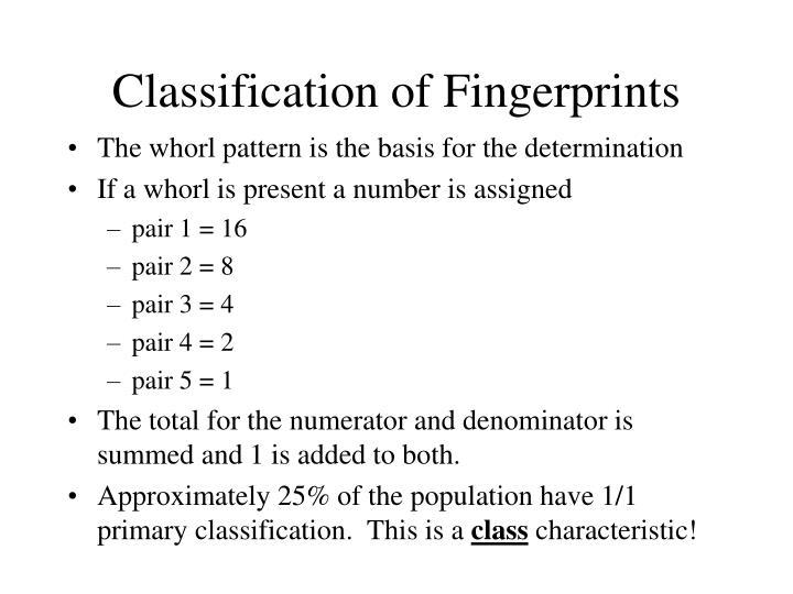 Classification of Fingerprints