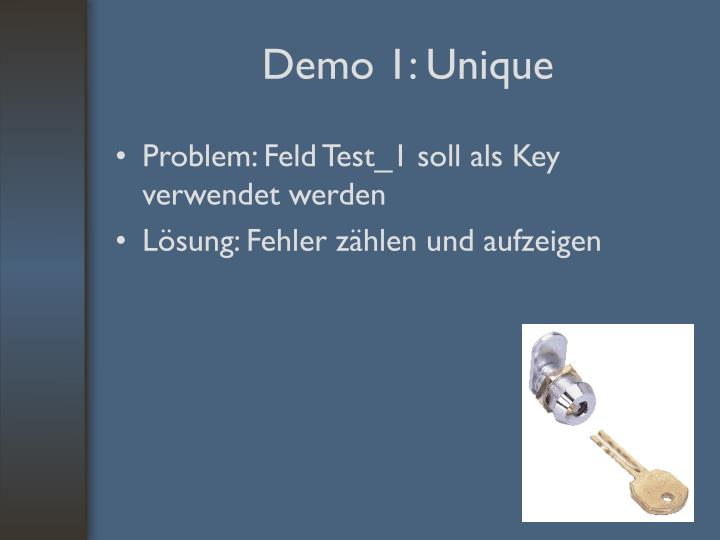 Problem: Feld Test_1 soll als Key verwendet werden