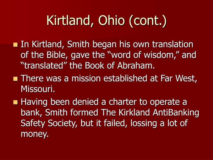 Kirtland, Ohio (cont.)