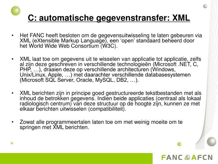 C: automatische gegevenstransfer: XML