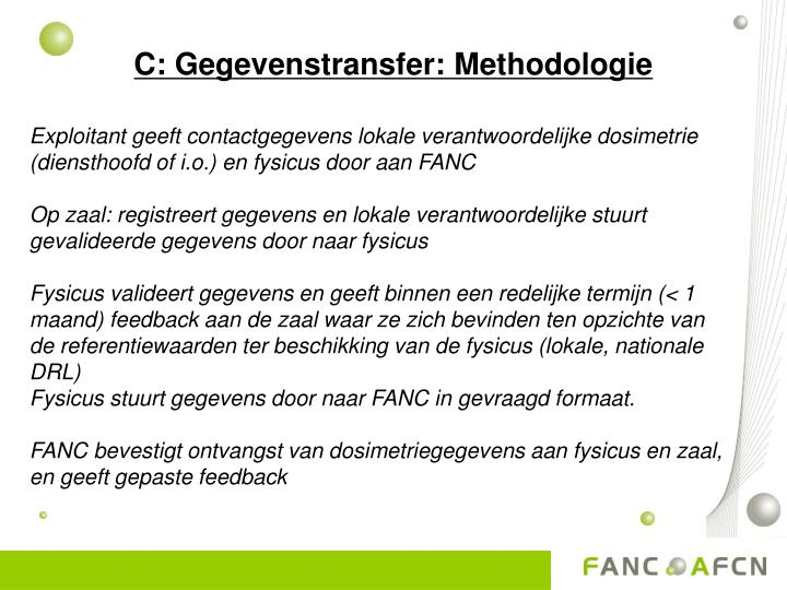 C: Gegevenstransfer: Methodologie