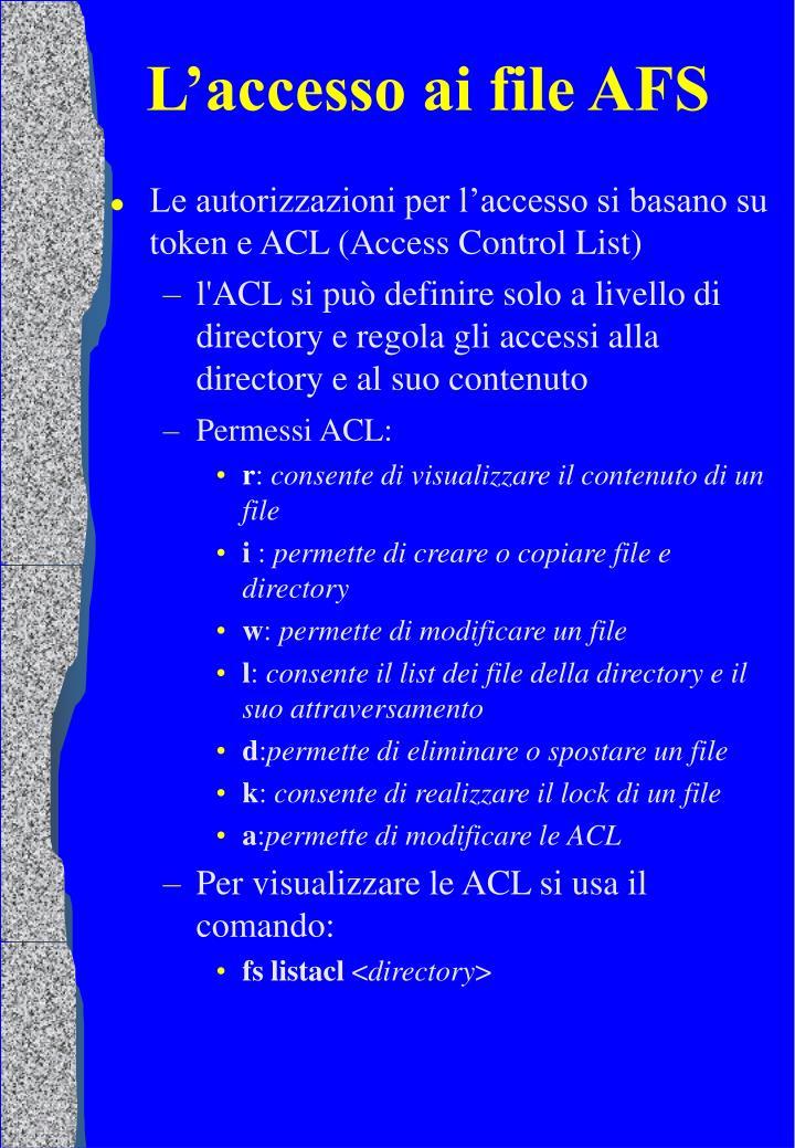 L'accesso ai file AFS