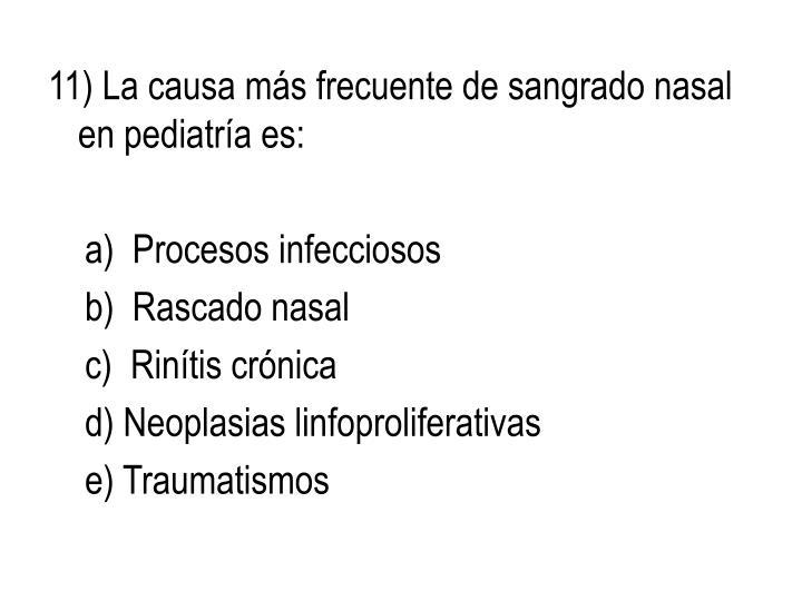 11) La causa más frecuente de sangrado nasal en pediatría es: