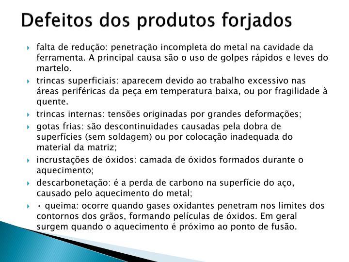 Defeitos dos produtos forjados