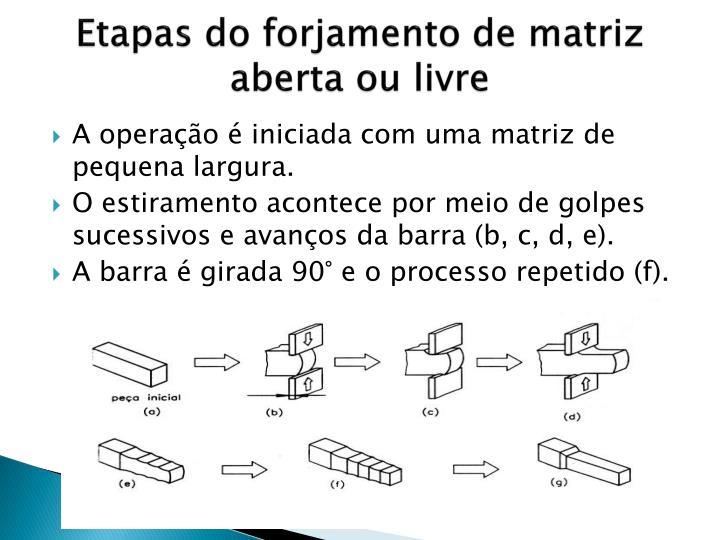 Etapas do forjamento de matriz aberta ou livre
