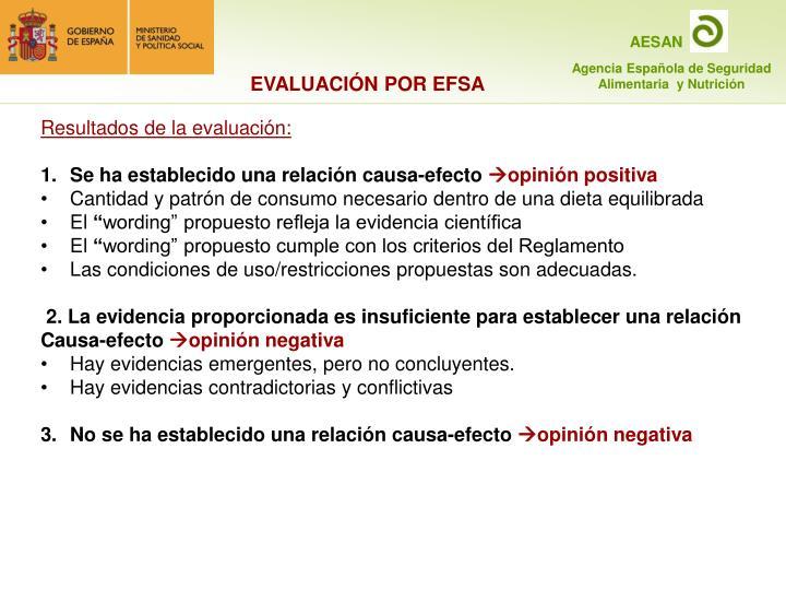 EVALUACIÓN POR EFSA
