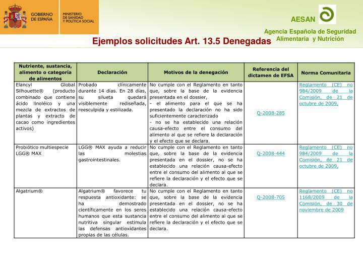 Ejemplos solicitudes Art. 13.5 Denegadas