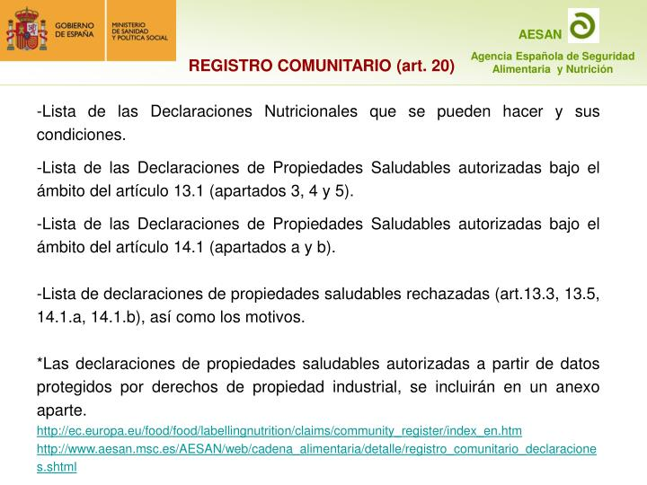 REGISTRO COMUNITARIO (art. 20)