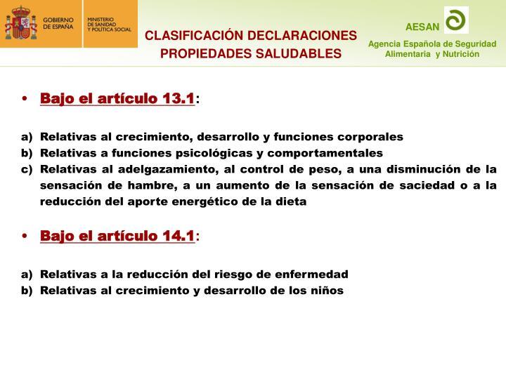 CLASIFICACIÓN DECLARACIONES