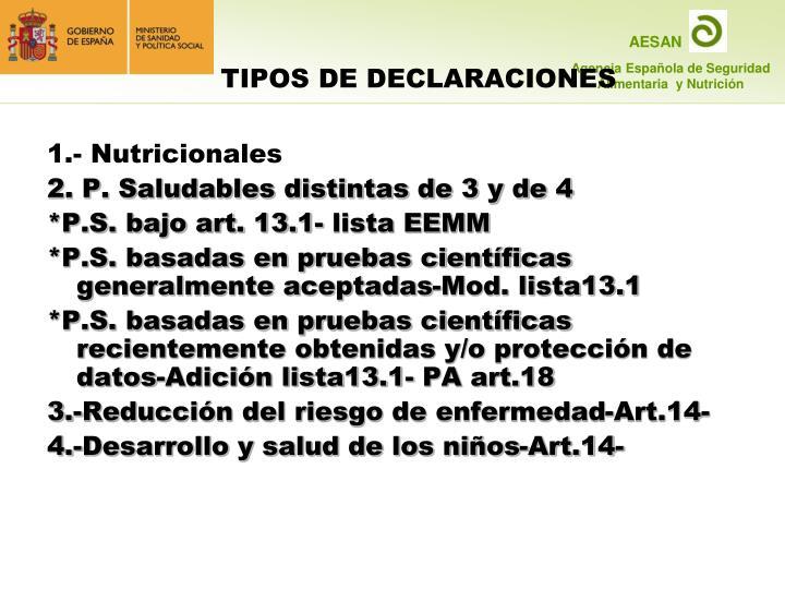 1.- Nutricionales