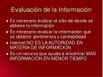 evaluaci n de la informaci n
