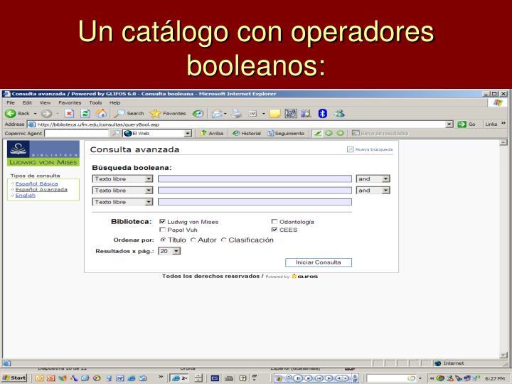 Un catálogo con operadores booleanos: