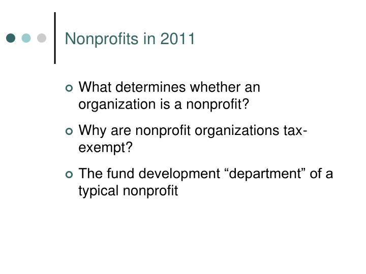 Nonprofits in 2011