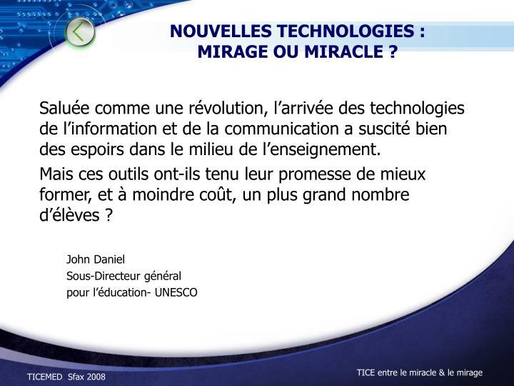 NOUVELLES TECHNOLOGIES :