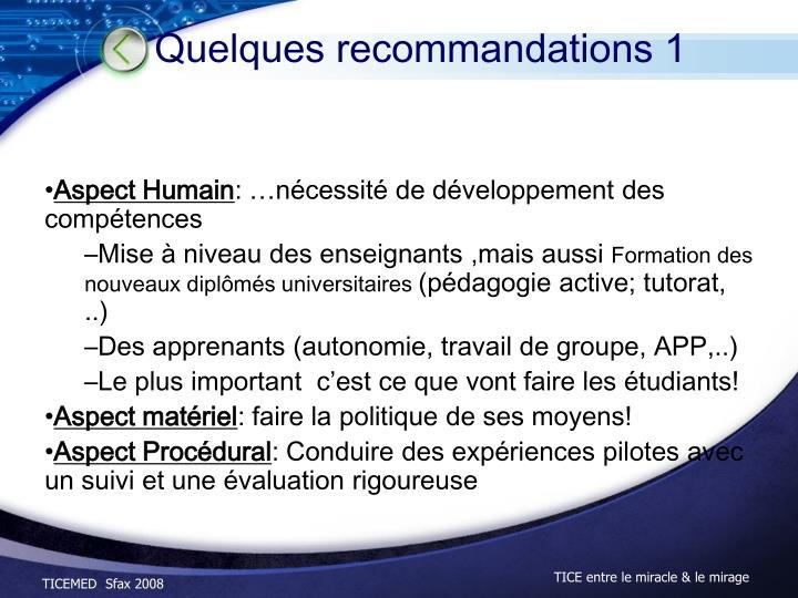 Quelques recommandations 1