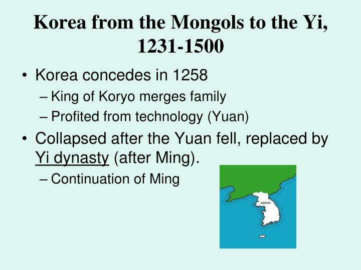 Korea from the Mongols to the Yi, 1231-1500