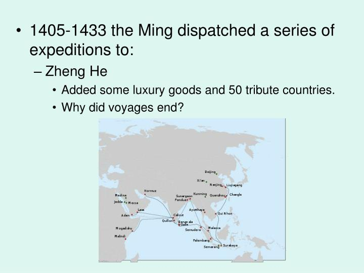 1405-1433 the Ming dispatched a series of expeditions to: