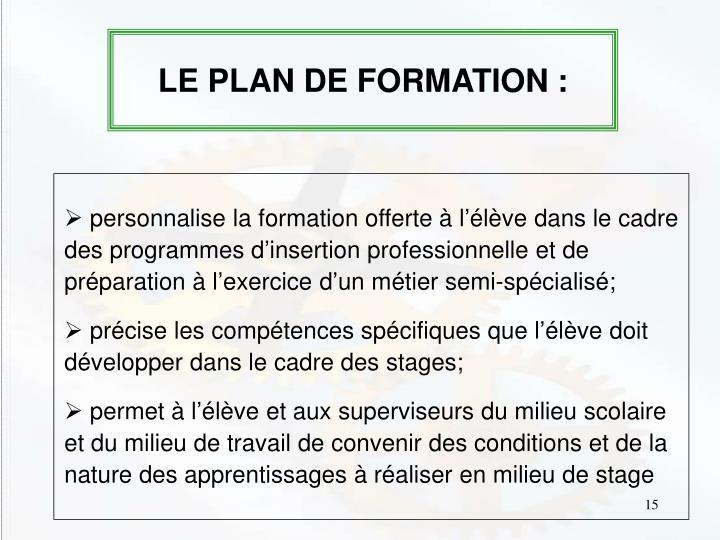 LE PLAN DE FORMATION :
