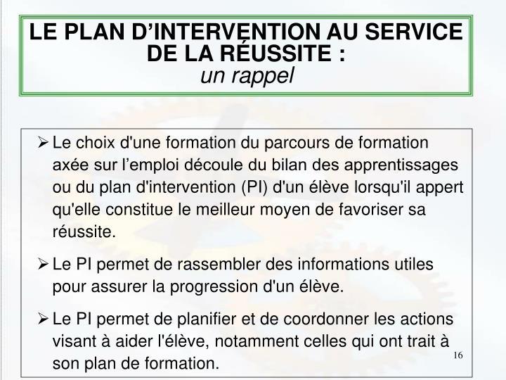 LE PLAN D'INTERVENTION AU SERVICE DE LA RÉUSSITE :