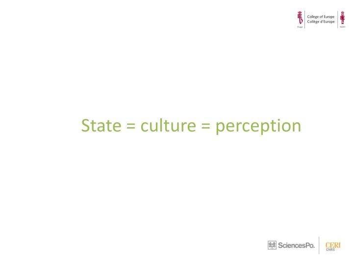 State = culture = perception