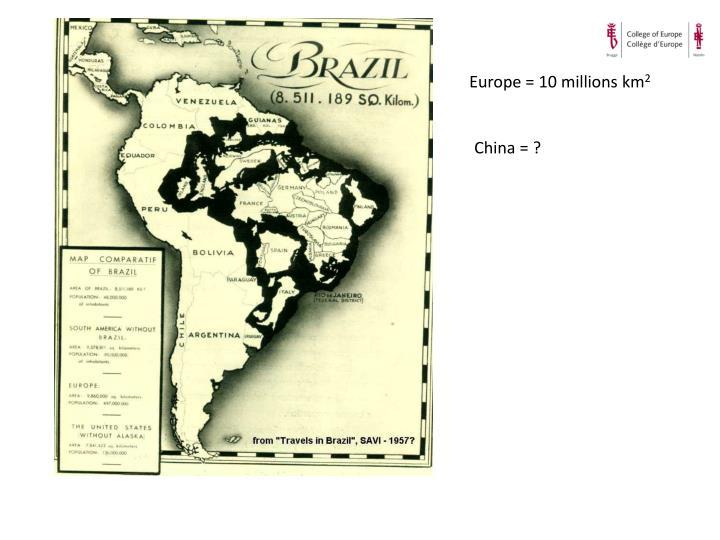 Europe = 10 millions km