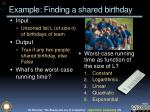 example finding a shared birthday