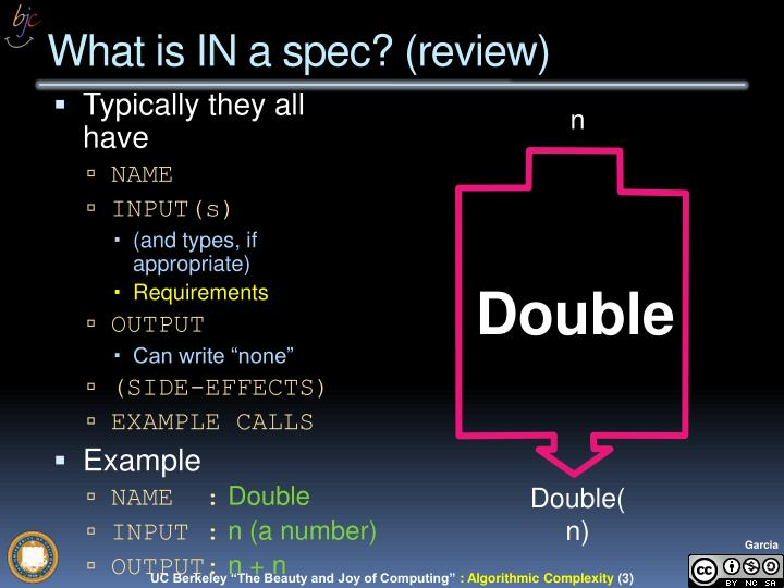 What is IN a spec? (review)