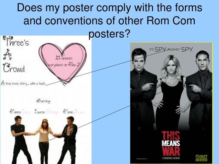 Does my poster comply with the forms and conventions of other Rom Com posters?