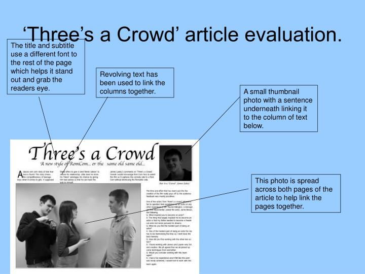 'Three's a Crowd' article evaluation.